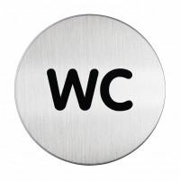 DURABLE PICTO WC Piktogramm, Ø 83 mm, Gefertigt aus hochwertigem Edelstahl, Farbe: metallic silber