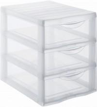 Rotho ORGAMIX Schubladenbox, transparent, Zum Aufbewahren von Büroutensilien und mehr , 3 Schubladen, Maße: 255 x 185 x 255 mm, DIN A5 Format
