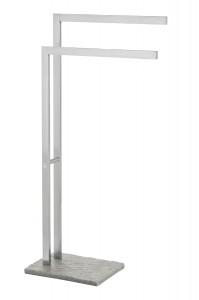 WENKO Handtuchständer Granit, Zwei stufenförmig, parallel angeordnete Stangen, Maße: 43,5 x 86,5 x 20 cm, Farbe: Silber, matt