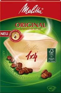 Melitta Haushaltsprodukte GmbH & Co. KG Melitta® Filtertüten 1x4/40 AROMA, naturbraun mit 3 Aromazonen, 1 Packung = 40 Stück 4006508206933