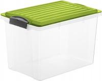 Rotho COMPACT Stapelbox, 19 Liter, Aufbewahrungsbox mit enormen Fassungsvermögen und beidseitig verwendbarem Deckel, Farbe: transparent / grün
