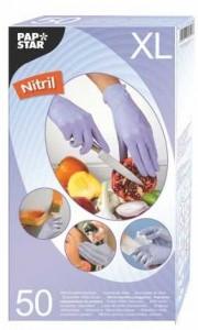 Papstar Handschuhe aus Nitril, Farbe: Flieder, puderfrei mit Gipstruktur, 1 Packung = 50 Handschuhe, Größe: XL