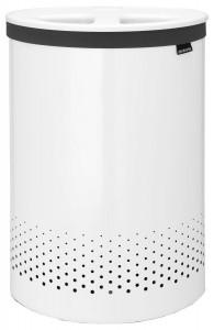 Brabantia Wäschebox Selector, 55 Liter, Deckel mit doppelter Quick-Drop Öffnung, Farbe: White, Kunststoffdeckel: White