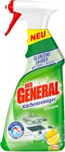 DER GERNERAL Küchenreiniger, Zitrone, Glänzend saubere und schnelle Reinigung von feucht abwischbaren Oberflächen, 500 ml - Sprühflasche