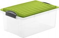 Rotho COMPACT Stapelbox, 13 Liter, Aufbewahrungsbox mit enormen Fassungsvermögen und beidseitig verwendbarem Deckel, Farbe: transparent / grün