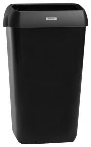 KATRIN Abfallbehälter mit Deckel, 25 Liter, Mit optionaler Wandhalterung, Maße: 550 x 330 x 230 mm, Kunststoff, Farbe: schwarz