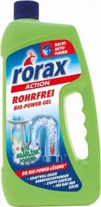 rorax Rohrfrei Bio-Power-Gel, beseitigt umweltschonend Rohrverstopfungen, 1000 ml - Flasche