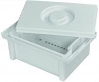 Becht-Desinfektionswanne mit Siebeinsatz, 3 Liter, Aus Kunsttsoff, mit Deckel, weiß, Größe: 315 x 206 x 125 mm