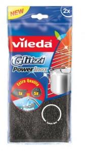 Vileda Glitzi Power Inox Stahlschwamm, entfernt selbst hartnäckige Verschmutzungen, 1 Packung = 2 Stück