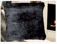 Gözze Felloptik Wohnkissen mit Federfüllung, 50 x 50 cm, 100 % Polyester , Design: Nerz schwarz