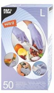 Papstar Handschuhe aus Nitril, Farbe: Flieder, puderfrei mit Gipstruktur, 1 Packung = 50 Handschuhe, Größe: L