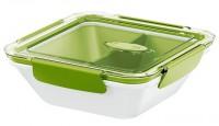 EMSA Bento Box - Lunchbox mit Einsätzen, Ideal für kleine Mahlzeiten außer Haus, Fassungsvermögen: 900 ml, Farbe: weiß / grün