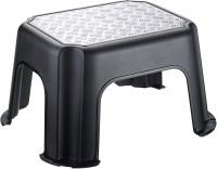Rotho PASO Trittschemel, schwarz / silber metallic, Tritthocker aus Kunststoff, Maße: 431 x 358 x 238 mm