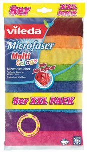 Vileda Allzwecktuch Microfaser XXL Multi Colour, 100% Microfaser für die besonders saugstarke Reinigung, 1 Packung = 8 Tücher, Maße: 32 x 32 cm