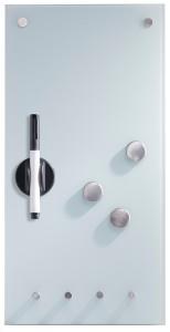 Zeller Memoboard Glas mit Haken, Als Magnettafel und Schlüsselboard nutzbar und komplett beschreibbar, Maße: 20 x 4 x 40 cm, Farbe: weiß