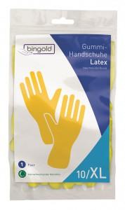 BINGOLD Mehrweghandschuhe Latex, Gummihandschuhe aus Naturkautschuklatex, gelb, mit Rollrand, 1 Paar, Größe S