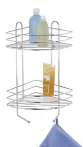 WENKO Exclusiv Eckregal - Duschregal, Ideale Ausnutzung von Ecken, inkl. Schrauben und Dübel, 2 Ablagekörbe, 2 Haken, Maße: 30 x 44 x 24 cm