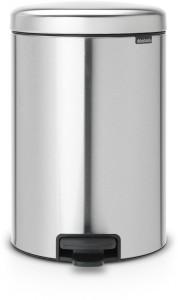 Brabantia NEWICON Treteimer, 20 l, Mit herausnehmbarem Inneneinsatz, Matt Steel Fingerprint Proof
