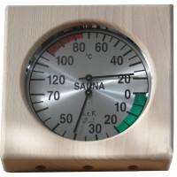 Sauna Thermometer & Hygrometer, In 4-eckigem Holzrahmen, Maße: ca. 17 cm, Tiefe: 3,5 cm