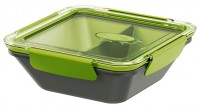 EMSA Bento Box - Lunchbox mit Einsätzen, Ideal für kleine Mahlzeiten außer Haus, Fassungsvermögen: 900 ml, Farbe: grau / grün