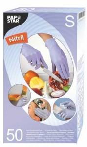 Papstar Handschuhe aus Nitril, Farbe: Flieder, puderfrei mit Gipstruktur, 1 Packung = 50 Handschuhe, Größe: S