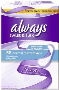 Always Slipeinlage Twist & Flex Normal, Besonders dünn - weniger als 1 mm, 1 Packung = 58 Stück