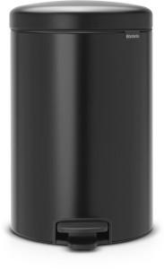 Brabantia NEWICON Treteimer, 20 l, Mit herausnehmbarem Inneneinsatz, Matt Black