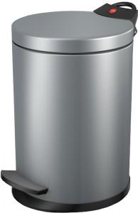 Hailo T2 S Tret-Kosmetikeimer, 3 l, Mit verzinktem Inneneimer & flachem Deckel, Stahlblech, silber