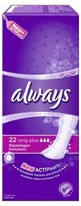 Always Slip-Einlagen Long Plus, mit ActiPearls™, 1 Packung = 22 Stück