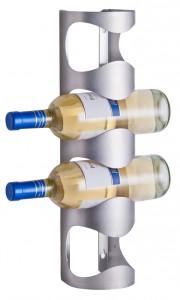 Zeller Wand-Flaschenhalter Edelstahl, Hingucker in jedem Raum für bis zu 4 Flaschen, Maße: 11,5 x 9,8 x 45 cm, Farbe: silber