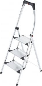 Hailo LivingStep Comfort Plus Klapptritt, Mit Soft-Grip-Sohle für optimalen Stand auf verschiedenen Böden, 3 breite Aluminium-Stufen, Arbeitshöhe: 250 cm