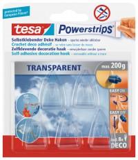 tesa® Powerstrips® Deco Haken, Transparente Haken für die Befestigung von Dekorationselementen, 1 Packung = 5 Stück