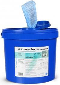 Descosept Pur Industrial Wipes, Alkoholische Tücher zur Desinfektion, Vliestuchspendereimer mit 400 Tüchern