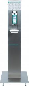 B. Braun Desinfektions-Säule, Stabile, hygienische Edelstahlsäule, elegantes, schlichtes Design, 1 Säule inkl. Wandspender plus langarm 500 ml mit Auffangschale