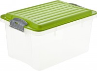 Rotho COMPACT Stapelbox, 4,5 Liter, Aufbewahrungsbox mit enormen Fassungsvermögen und beidseitig verwendbarem Deckel, Farbe: transparent / grün