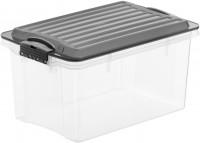 Rotho COMPACT Stapelbox, 4,5 Liter, Aufbewahrungsbox mit enormen Fassungsvermögen und beidseitig verwendbarem Deckel, Farbe: transparent / anthrazit