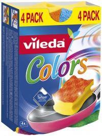 Vileda Colors 4er Topfreiniger, Der ideale Topf- und Geschirreiniger für alle hochwertigen Oberflächen, 1 Packung = 4 Stück