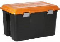 Rotho TANKER Box, 100 Liter, Aufbewahrungsbox mit Deckel, Maße: 715 x 470 x 417 mm, Farbe: orange / dunkelgrau