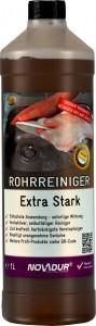 NOVADUR Rohrreiniger Extra Stark, Zur Zersetzung von organischen Verstopfungen, 1000 ml - Flasche