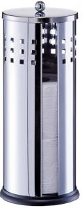 Zeller Toilettenrollenhalter Edelstahl, Stilvolle Möglichkeit der Rollenaufbewahrung, Maße: Ø 14,5 x 35 cm, Farbe: silber