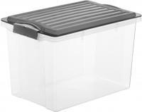 Rotho COMPACT Stapelbox, 19 Liter, Aufbewahrungsbox mit enormen Fassungsvermögen und beidseitig verwendbarem Deckel, Farbe: transparent / anthrazit