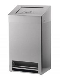 SanTRAL FBU Abfallbox 40 l, mit fußbedienbarer Einwurfklappe aus Edelstahl, Edelstahl, pulverbeschichtet, weiß