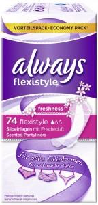 Always Slipeinlage Flexistyle Fresh, Für ein frisches Gefühl - den ganzen Tag, 1 Packung = 74 Stück