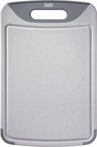 SILIT Schneidbrett antibakteriell mit Griff und Saftrille, Rutschfeste Unterlage zum Schneiden, Hacken oder Filetieren, GrA¶Aze: 38 x 25 cm 2142235347