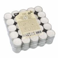 Papstar Teelichte, Ø 39 mm, Höhe: 17 mm, Farbe: weiß, 1 Packung = 100 Stück, Brenndauer: ca. 4 Stunden