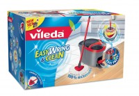 Vileda GmbH Vileda Easy Wring &amp; Clean Wischmop, Microfaser Mop, Eimer mit PowerSchleuder, 1 Wischmop Set