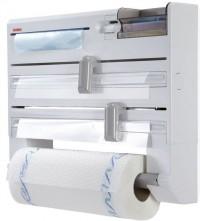 LEIFHEIT Wandrollenhalter PARAT PLUS, weiß, für Küchenrollen, Frischhalte- und Alufolie, 1 Stück