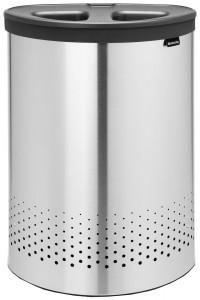 Brabantia Wäschebox Selector, 55 Liter, Deckel mit doppelter Quick-Drop Öffnung, Farbe: Matt Steel, Kunststoffdeckel: Dark grey