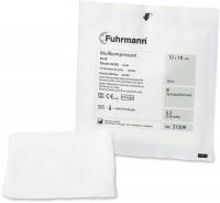 Fuhrmann Mullkompressen steril, Verbandmull 17-fädig aus Baumwolle, DIN EN 14079, 1 Karton = 12 Packungen = 1200 Stück, 7,5 x 7,5 cm