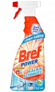 Bref Power Kalk & Schmutz, Kalkreiniger mit ultrastarker Kraft-Formel, 750 ml - Sprühflasche